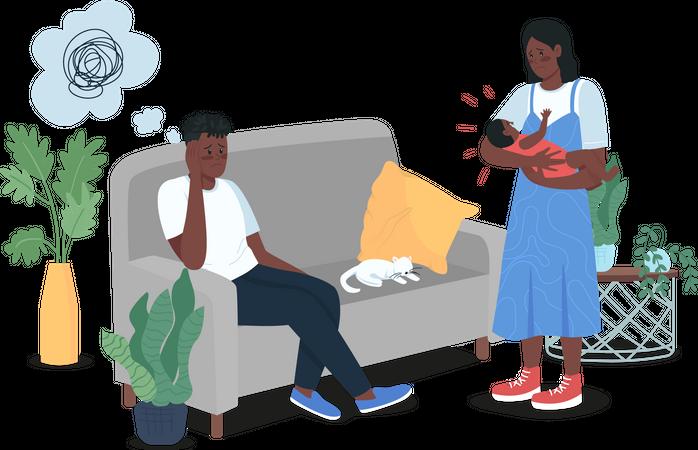 Depressed parents with newborn baby Illustration