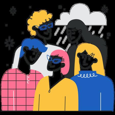 Depression grief Illustration