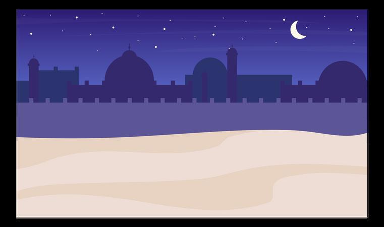 Desert town silhouette night scenery Illustration