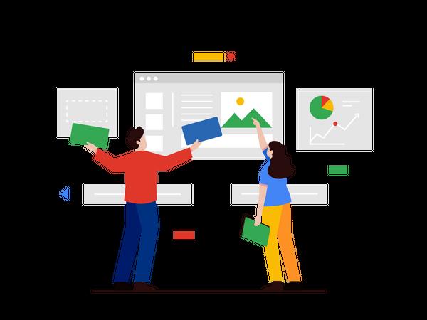 Design Team Creating UI Design Illustration