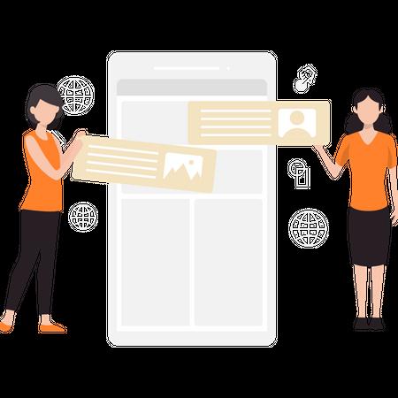 Design team working on website layout Illustration