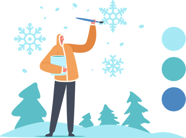 Designer Artist Male in Warm Winter Clothes Painting Snowflakes Illustration