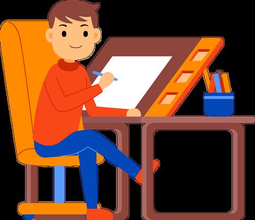 Designer making drawing Illustration