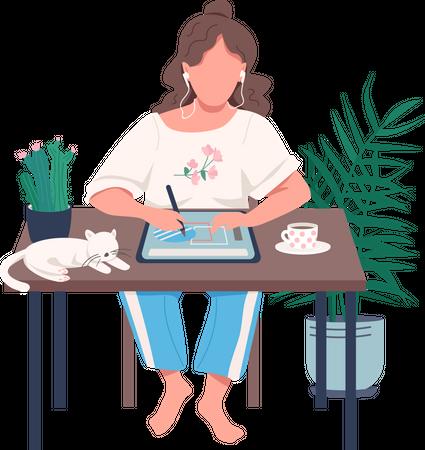 Designer with tablet Illustration