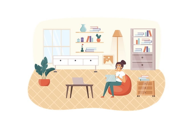 Designer working at home Illustration