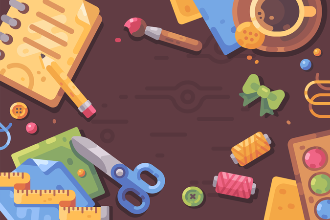 Desktop filled with art supplies and craft materials Illustration
