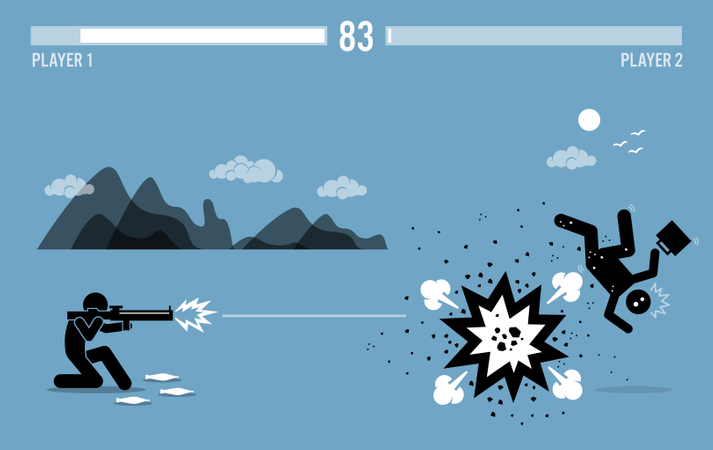 Destroying business competitor with a bazooka Illustration
