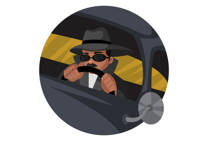 Detective driving car Illustration
