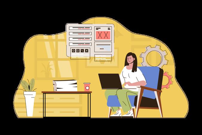 Developer creating interface design Illustration