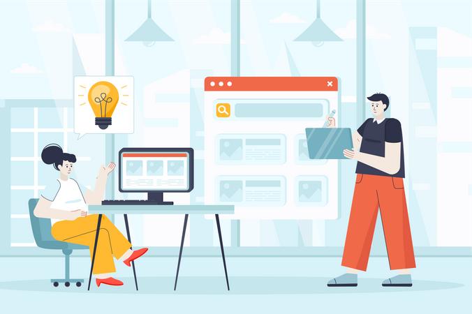 Developer creating new product Illustration