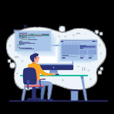 Developer doing programming opening multi-working tabs on the desktop Illustration