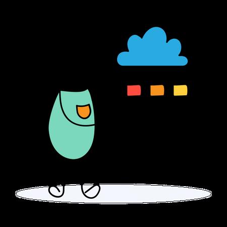 Developer managing cloud structure Illustration