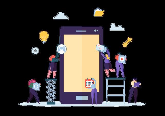 Developer team building mobile application Illustration