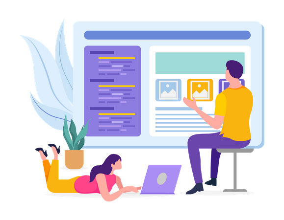 Developers developing website Illustration