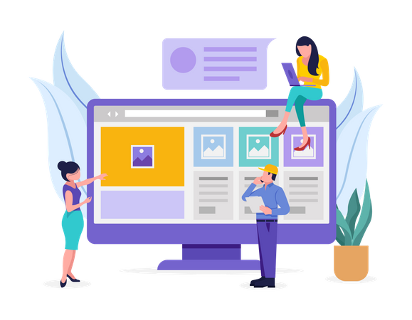 Developing Employees working on website development Illustration