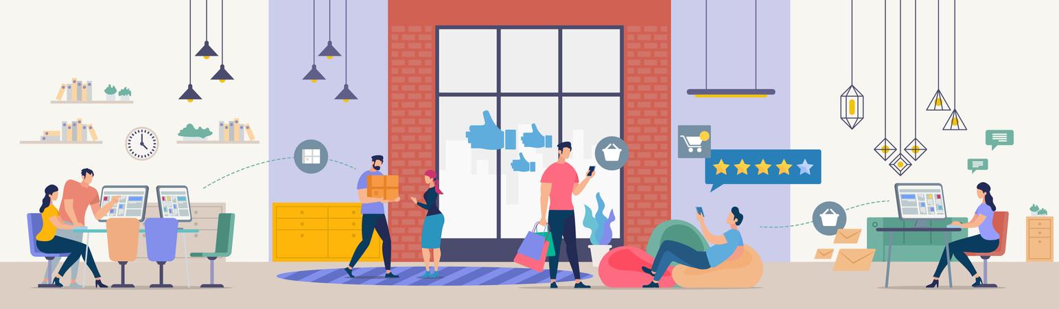 Developing Online Shop Illustration