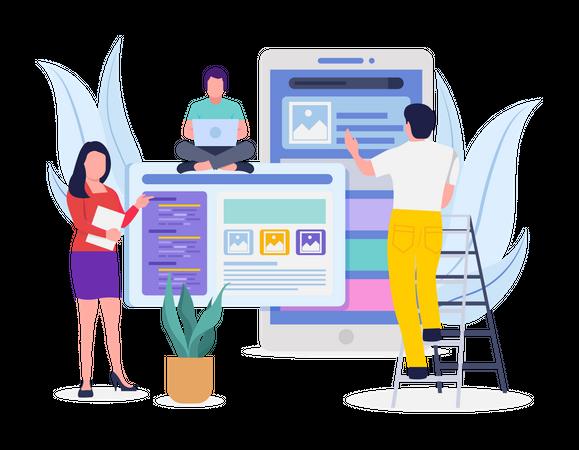 Developing team working on website Illustration