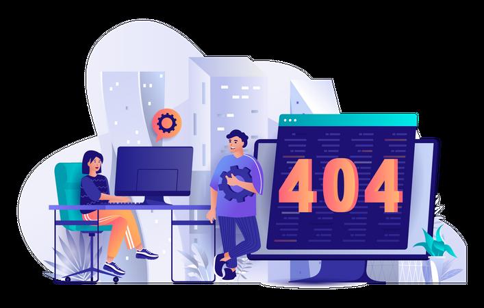 Development team solving 404 error Illustration