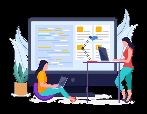 Development team working on project Illustration