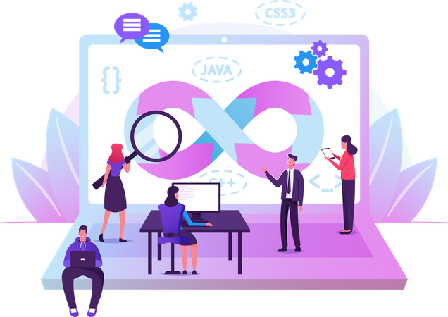 Devops Specialists Work Collaboration. Programmers and Businesspeople at Huge Laptop. Development Automation, Monitoring Cycles at All Steps of Software Construction. Cartoon Flat Vector Illustration Illustration