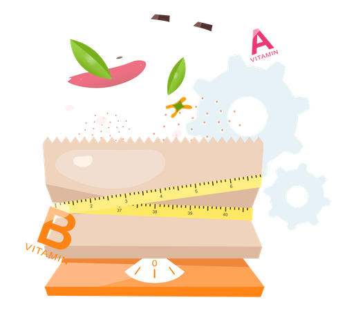 Diet Meal According To Calories Illustration