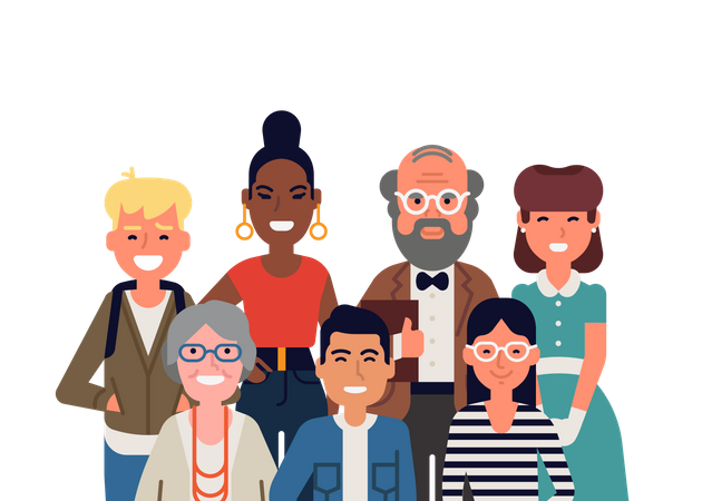 Different age of people standing in one group Illustration