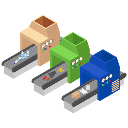 Different Garbage Recycling Machine Illustration
