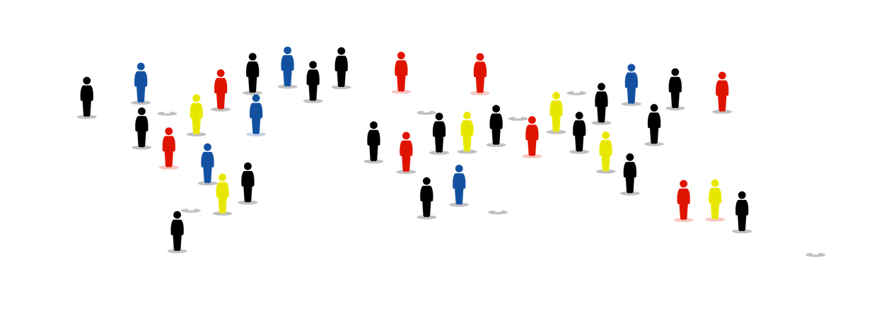 Different type of people around the world on map Illustration