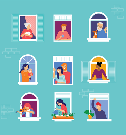 Different types of people look out and communicate with neighbors during lockdown Illustration