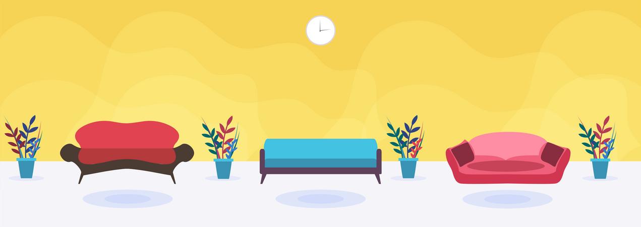 Different types of sofa Illustration