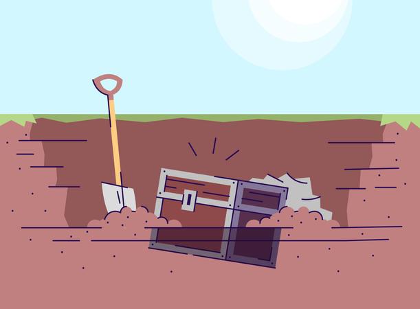 Digging up treasure chest Illustration