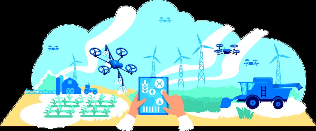 Digital agriculture Illustration