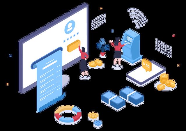 Digital Banking Service Illustration