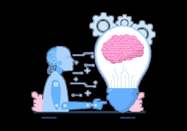 Digital Brain Technology Illustration