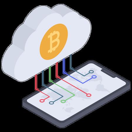 Digital Cloud bitcoin connection Illustration