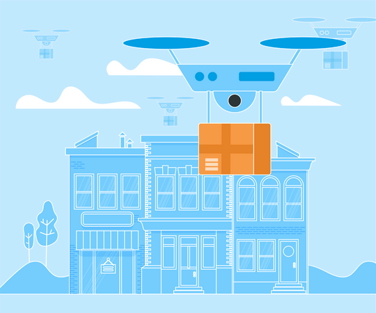Digital Drone, Aerial Copter, Drone Delivery Illustration