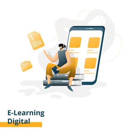 Digital e-Learning landing page Illustration