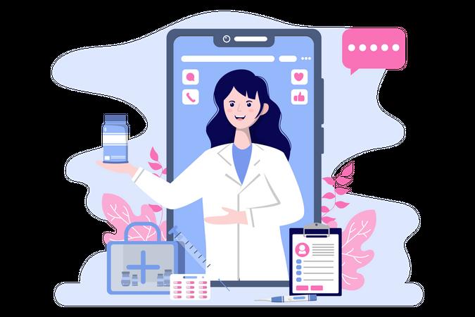 Digital healthcare Illustration