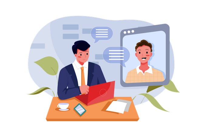 Digital job interview Illustration