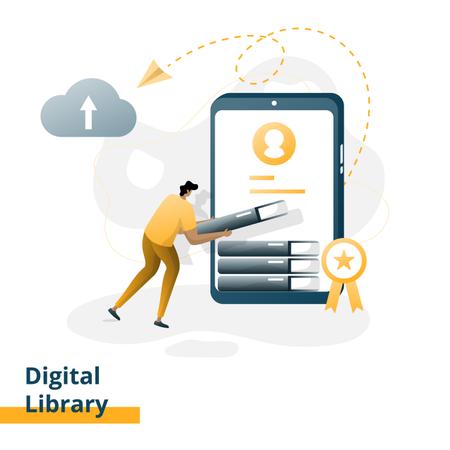 Digital Library Illustration