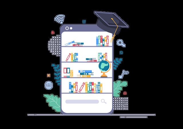 Digital Library App Illustration