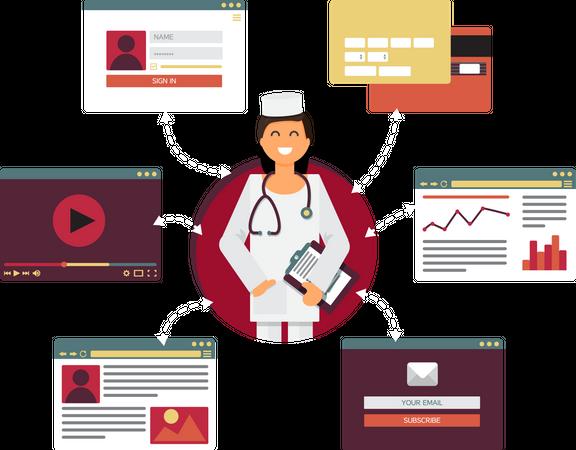 Digital life of doctor Illustration