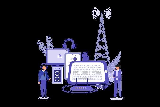 Digital Marketing of Electronic Devices Illustration