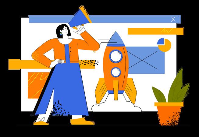 Digital Marketing Of Startup Illustration