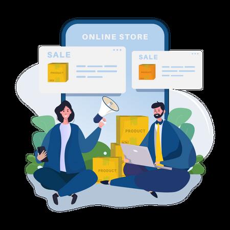 Digital marketing promotion Illustration