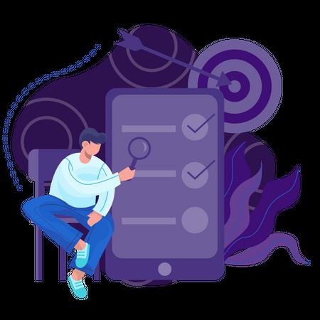 Digital marketing tasks Illustration