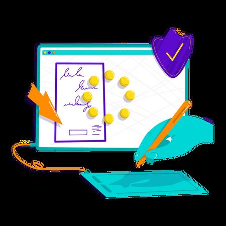 Digital signature Illustration