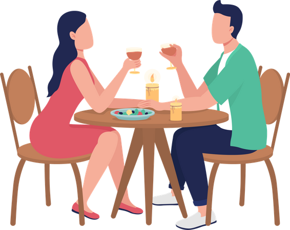 Dining together at restaurant Illustration