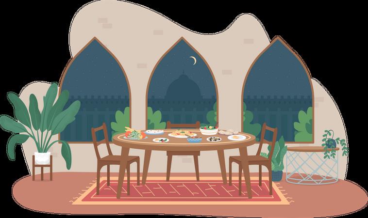 Dinner table in ramadan Illustration
