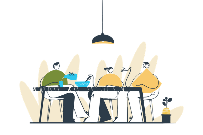 Dinner with Family Illustration